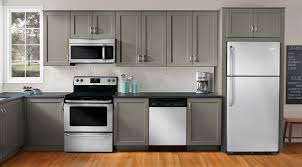 kitchen with grey cabinets and white appliances great kitchen appliance packages lowe s home appliances