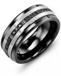 ceramic diamond rings images Men 39 s trio black diamonds wedding ring engraving services jpg
