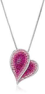 swarovski necklace pink images Sterling silver pink heart swarovski elements pendant jpg