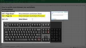 how to move between worksheets and hide the ribbon in excel 2016