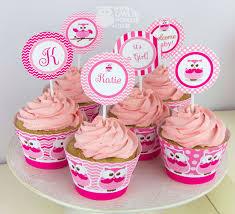 monogram cupcake toppers owlie powlie