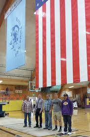 Standing Flag Banners Burns Paiute Tribe Flag On Display In Bhs Gym U2013 Burns Times Herald
