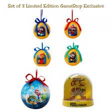 set of 3 gamestop mario light up ornament 30th anniversary
