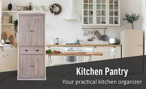 homcom kitchen pantry cupboard wooden storage cabinet organizer shelf white homcom 72 traditional freestanding kitchen pantry cupboard with 2 cabinet drawer and adjustable shelves brown