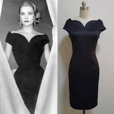 grace kelly midi evening dress vintage 50s black dress