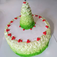 Christmas Tree Frosting Ombre Ruffle Christmas Tree Cake