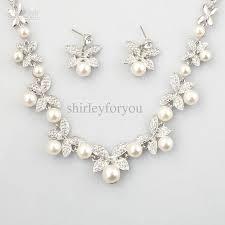 bridesmaid pearl earrings bridal pearl necklace earrings wedding jewelry set nj 575