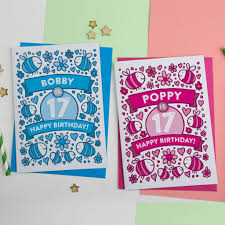 personalised bee s illustrated 17th birthday card by a is for