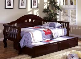 wooden daybed frame with trundle bed in cherry betterimprovement com