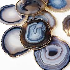 agate coasters with gold leaf trim black blue u0026 beige natural