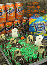 haunted halloween graveyard orange fanta cake with oreo