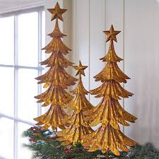 gold metal tabletop trees set of 3 improvements catalog