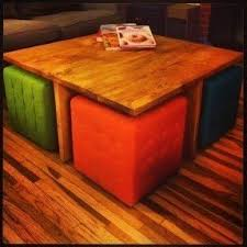 coffee table with 4 storage ottomans foter