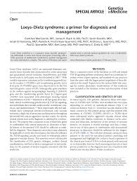 loeys dietz syndrome a primer for diagnosis and management pdf