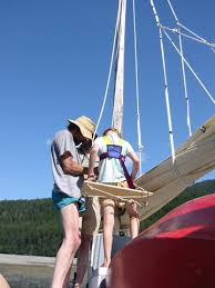 aly rides the bosun u0027s chair the zeiger family boat building page