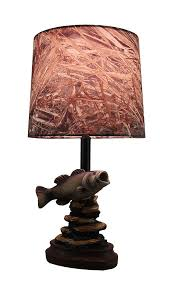 Oak Table Lamp Mossy Oak Fish Accent Lamp Dark Woodtone Camo Shade Table Lamps