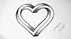 how to draw a 3d heart shape not impossible easy youtube