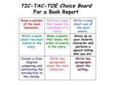 book report tic tac toe multiple intelligences authenic