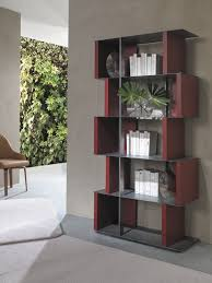 contemporary bookcase lacquered wood metal manga ozzio italia