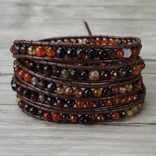 red wrap bracelet images Fancy wrap bracelet natural stone red bead bracelet boho leather jpg