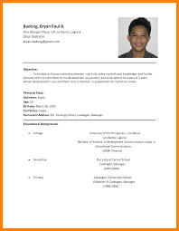 Simple Sample Of Resume Format by 3 Simple Filipino Resume Format Cfo Cover Letter