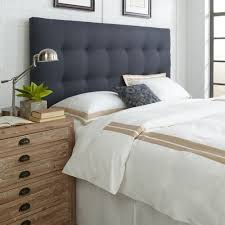 danielle queen full upholstered headboard in midnight blue the