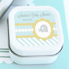 candle baby shower favors blue elephant personalized square candle tins baby shower