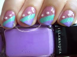 girly nail art spring summer stripes and pearls of faces and
