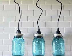 3 hanging large blue mason jar pendant lights three lights