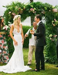 wedding arch leaves picture of lush wedding arch fully covered with palm leaves and