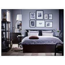 Wood And Metal Bed Frame Bedroom King Bed Base Mattress Frame Black Wood Bed
