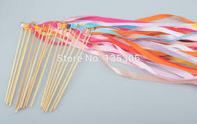 ribbon sticks 50pcs lot wedding ribbon wand ribbon sticks wands with bells