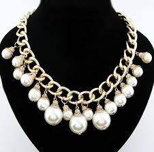 wholesale pearls necklace images Wholesale golden link chain big pearl fashion necklace yiwuproducts jpg