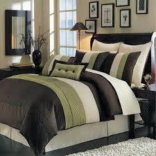 modern color block pleated green brown comforter set luxury