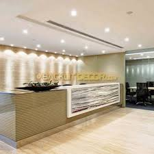 Illuminated Reception Desk with Real Stone