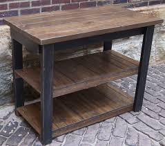 distressed black rustic kitchen island cart with open shelf