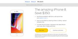 sprint offers new iphone 8 u0026 8 plus deals starting at 0 down
