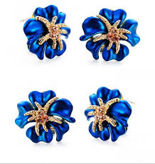 royal blue earrings 2015 shining starfish crystals royal blue earrings for prom party