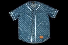 louis vuitton supreme jacquard denim baseball jersey1a3f9t blue