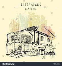 battambang cambodia southeast asia residential house stock vector