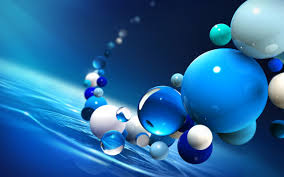 white and blue balls the water 3d wallpaper