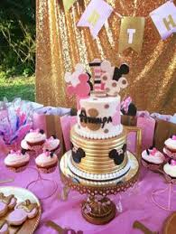 Pink And Black Minnie Mouse Decorations Minnie Mouse Baby Shower Pink Dessert Table Kids Birthday Party