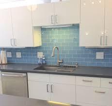 kitchens with subway tile backsplash sky blue glass subway tile kitchen backsplash with cabinets