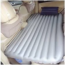 inflatable mattress turns the back seat of your car into a perfect