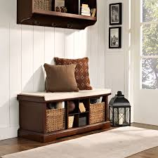 White Wood Storage Bench Brennan Mahogany Entryway Storage Bench Crosley Furniture Storage