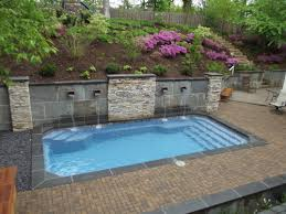 Backyard Landscaping With Pool by Best 25 Fiberglass Swimming Pools Ideas On Pinterest Small