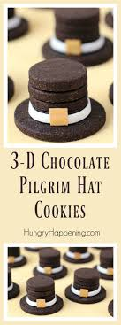 3 d chocolate pilgrim hat cookies for thanksgiving dinner