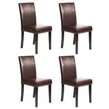 4 Dining Chairs Set Of 4 Brown Leather Contemporary Design Dining Chairs