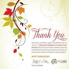 thanksgiving message to customers special day celebrations