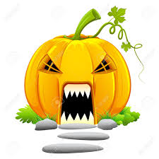 illustration of haunted house in shape of pumpkin for halloween